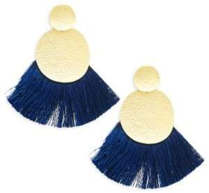 Panacea Textured Circle Tassel Earrings