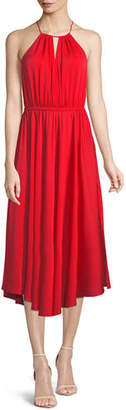 Milly Casey Draped Stretch-Silk Dress