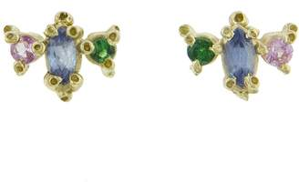Ruta Reifen Spring Marquise Round Stud Earriings - Yellow Gold