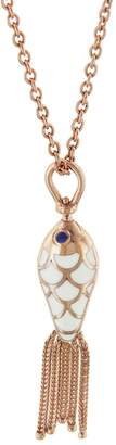 Selim Mouzannar White and Turquoise Enamel Sapphire Fish Necklace - Rose Gold