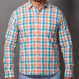 Blade + Blue Orange & Aqua Open Plaid Shirt - Eddie