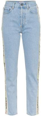 Palm Angels tape detail high-waisted jeans