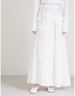 Michael Lo Sordo Pocket-detail high-rise cotton maxi skirt