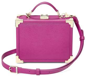Aspinal of London Mini Trunk Clutch In Orchid Saffiano