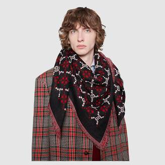 Gucci GG diamond wool shawl