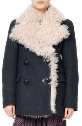 Isabel Marant Berit Shearling-Lined Pea Coat