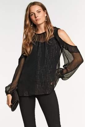 Next Womens Black Print Metallic Cold Shoulder Blouse