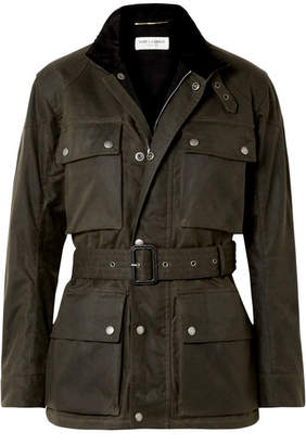 Saint Laurent Belted Waxed Cotton-canvas Jacket - Army green