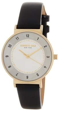 Kenneth Cole New York Women's Classic Leather Strap Watch, 32 x 38mm