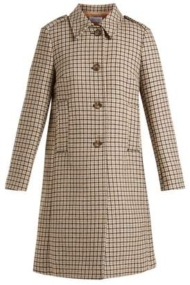 RED Valentino Checked Wool Blend Tweed Coat - Womens - Camel