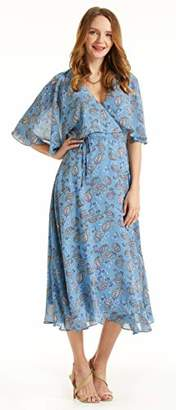 SONJA BETRO Women's Printed Chiffon Cape Sleeve Wrap Dress//