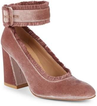Stuart Weitzman Fringeclarisa Velvet Ankle-Strap Pumps