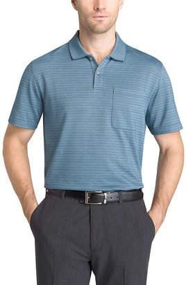 Van Heusen Short Sleeve Stripe Knit Polo Shirt Slim