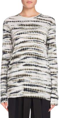 Proenza Schouler Crewneck Long-Sleeve Tie-Dye Cotton T-Shirt