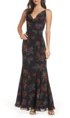 Fame & Partners The Theodora Floral Print Gown