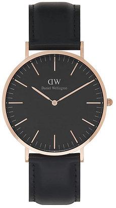 Daniel Wellington Sheffield Men's Black Leather Strap Watch