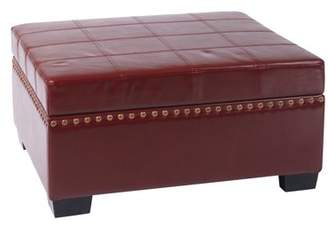 Office Star AVE-SIX by Products Nailhead Detour Storage Ottoman with Tray, Multiple Colors