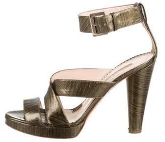Oscar de la Renta Printed Leather Sandals