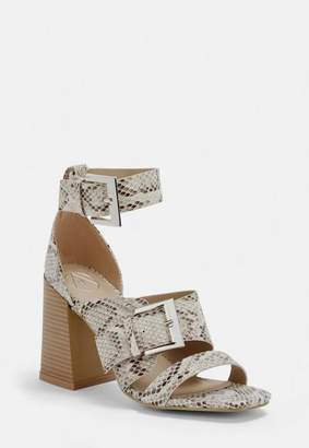 Missguided Nude Snake Print Buckle Strap Block Heel Sandals, Nude