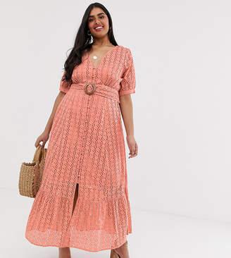 794abfcefc8 Asos DESIGN Curve broderie pephem maxi dress with wooden belt