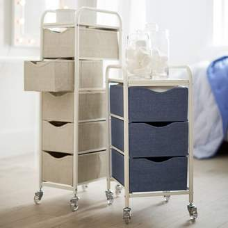 Pottery Barn Teen Ready-to-Roll Storage Cart, 5-Drawer, Chambray