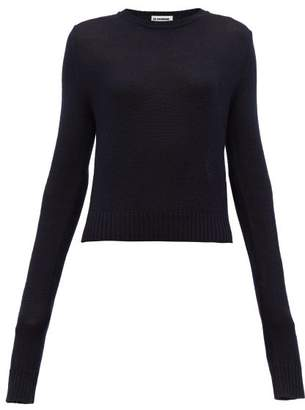 Jil Sander Exaggerated Sleeves Wool Sweater - Womens - Dark Navy