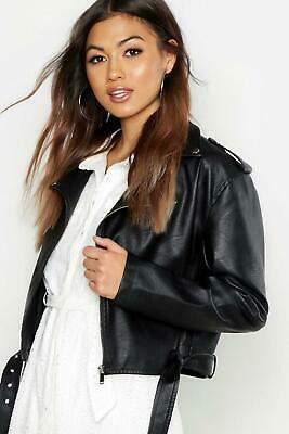 boohoo NEW Womens Boxy Crop Biker Jacket in