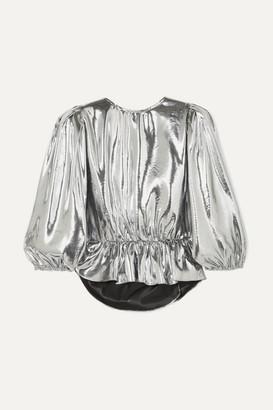 Isabel Marant Kyama Metallic Silk-blend Top - Silver