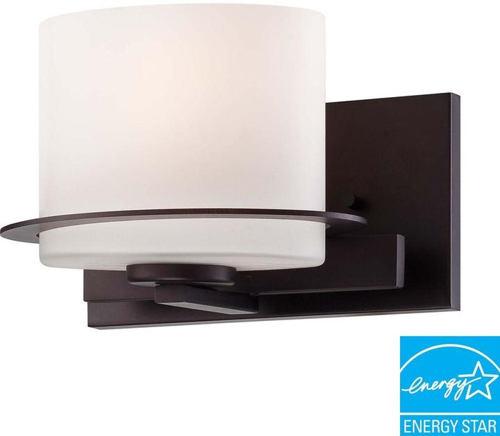 Illumine 1-Light Venetian Bronze Vanity Fixture with Oval Frosted Glass Shade