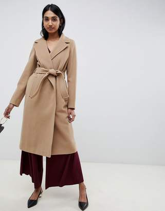 EMME Emme Fatuo Longline Camel Coat with Tie Waist