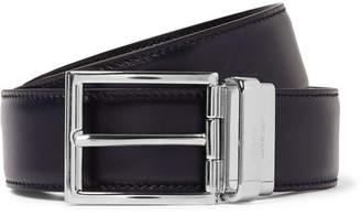 Prada 3cm Reversible Black And Navy Leather Belt