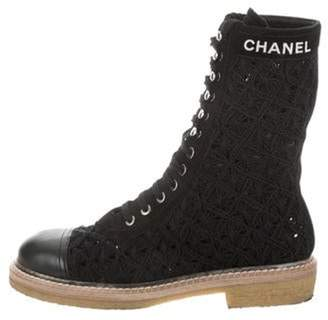 Chanel 2019 Knit Lace-Up Boots Black 2019 Knit Lace-Up Boots