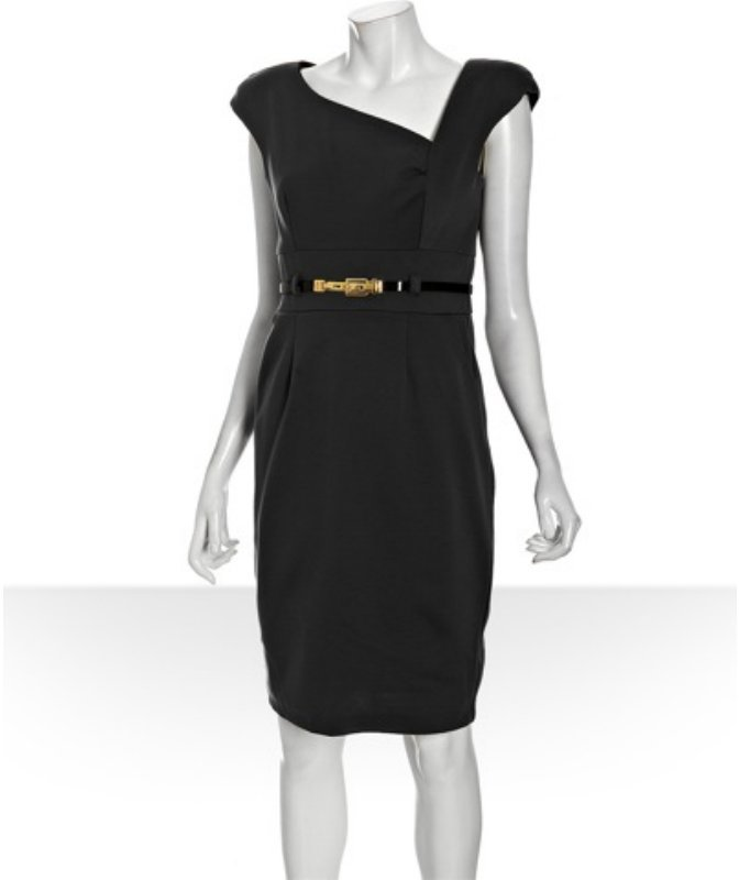 Single black ponte knit 'Becky' asymmetrical belted dress