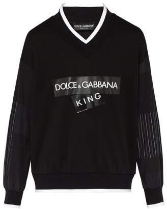 King Logo Print Cotton Sweater - Mens - Black