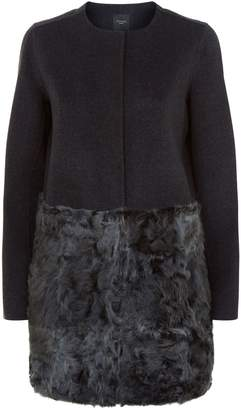 Max Mara Collarless Wool and Fur Coat
