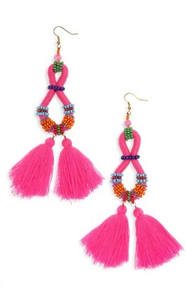 Women's Panacea Beaded Tassel Drop Earrings $32 thestylecure.com