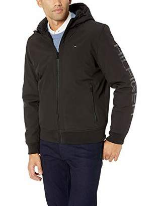 Tommy Hilfiger Men's Softshell Hoody Bomber Jacket with Sherpa Lining