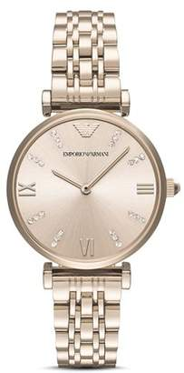 Emporio Armani Women's Two Hand Rose Gold-Tone Stainless Steel Watch, 32 mm
