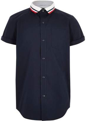 River Island Boys navy knitted stripe collar shirt