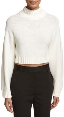 DKNY Long-Sleeve Cropped Wool-Blend Sweater, White $298 thestylecure.com