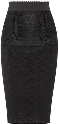 Dolce & Gabbana - Lace-up Mesh-jacquard Pencil Skirt - Black $1,195 thestylecure.com