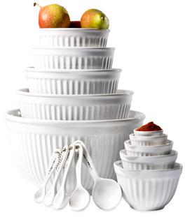 Bed Bath & Beyond Basic Essentials 15-Piece White Ceramic Mixing Bowl & Measure Set