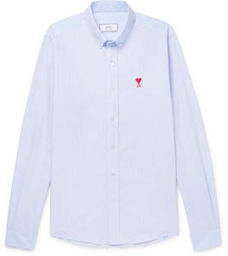 Ami Button-Down Collar Striped Cotton Oxford Shirt