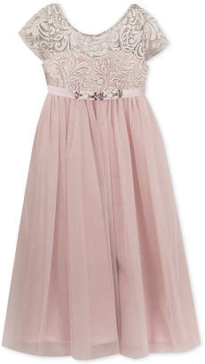 Rare Editions Little Girls Embroidered-Bodice Maxi Dress