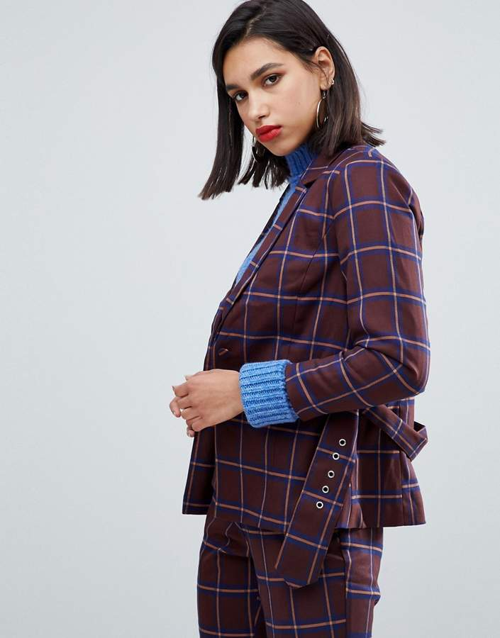 Y.A.S Belted Check Blazer Ord