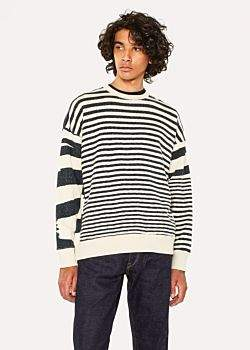 Paul Smith Men's Space-Dyed Stripe Loopwheel Cotton Red Ear Sweatshirt