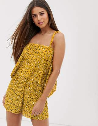 eb35014968 Asos Design DESIGN cami playsuit with overlay in plisse in ditsy print