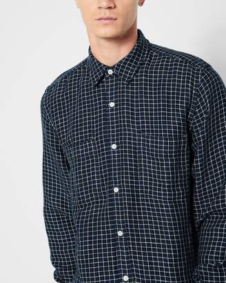 7 For All Mankind Long Sleeve Double Face Plaid Shirt in Navy