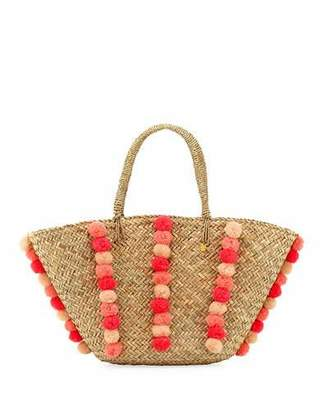 Seafolly Carried Away Pom-Pom Beach Basket, Natural $102 thestylecure.com