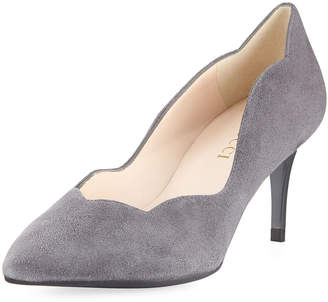 Sesto Meucci Suede Scalloped Slip-On Pumps, Gray